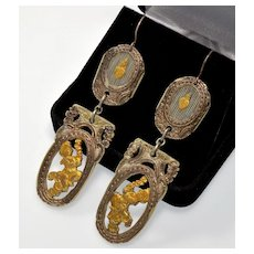 """Georgian Antique French Silver & Gold Foil Overlay Carved Cherub & Flaming Heart Dangle Earrings 3 1/4"""" long"""