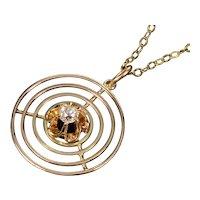 Antique Edwardian 14K Gold Old Mine Cut Diamond Pendant Necklace GF Chain
