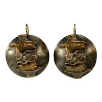 Antique Victorian Egyptian Revival Sphinxes Bronze Earrings 14K Gold WIre