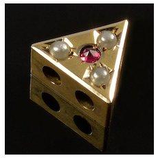 Antique Victorian 10K Gold Ruby Pearls Slide Charm For Bracelet 002261