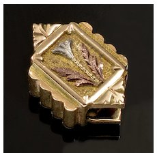 Antique Georgian 10K 4-color Gold Carved Slide Charm For Bracelet 002277