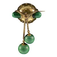 Antique Victorian Etruscan Revival 15K Gold Russian Malachite Dangles Brooch Pin