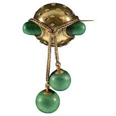 Antique Victorian Etruscan Revival 15K Gold Russian Malachite Dangles Brooch Pin