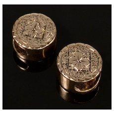 Antique Victorian 14K Rose Gold Engraved Slides Charms For Bracelet A Pair Of 002283
