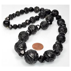 Antique Victorian Fancy Carved Whitby Jet Bead Necklace