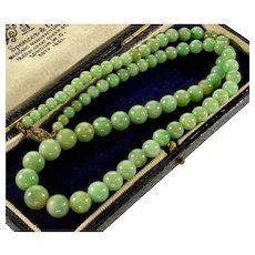 "Antique Art Deco 14K Gold Jadeite Jade Bead Necklace 18"""