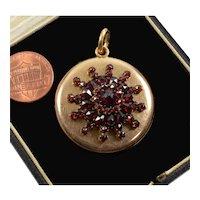Antique Victorian Bohemian Garnet Rose Gold Filled Locket Pendant