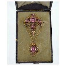 Antique Georgian 15K Gold Pink Topaz Paste Swag Brooch C.1820's