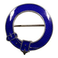 Antique Victorian Royal Blue Guilloche Enamel Sterling Belt Buckle Brooch Pin AJS Arthur Johnson Smith