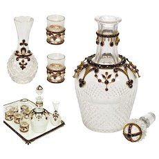 Antique Victorian Bohemian Garnet Crystal 9-piece Liqueur Set Decanter Shots Vase Tray