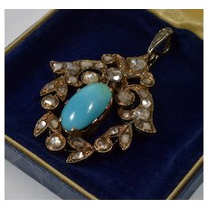 Antique Georgian French Pendant 18K Gold Over Sterling Rose Cut Diamonds Turquoise