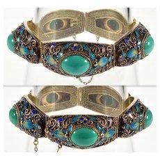 Antique Art Deco Turquoise Enamel Gilded Sterling Bracelet C. 1920 Chinese Export 002310