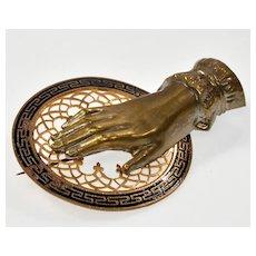 Antique Victorian Hand Sentimental Spiritual Symbol Brooch