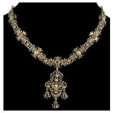 Antique Austro-Hungarian Angel Cherub Garnet Pearl Enamel Sterling Necklace C. 1890