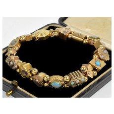 Antique Victorian Gold Slide Bracelet Diamond Opal Amethyst Pearl Turquoise C.1880