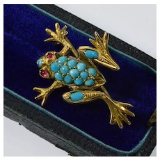 Antique Victorian Turquoise Garnet Vermail Silver Frog Pin Brooch C.1890