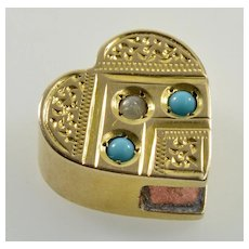 Antique Victorian 14K Gold Turquoise Pearl Heart Slide Charm For Bracelet 002339
