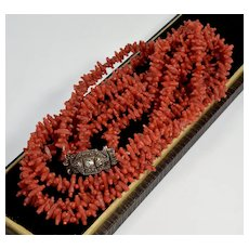 Antique Georgian Carved Salmon Red Coral Necklace C. 1820