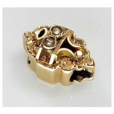 Antique Victorian 14K Gold Pearl Slide Charm For Bracelet 002340