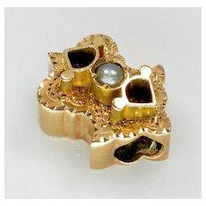 Antique Victorian 14K Gold Pearl Slide Charm For Bracelet 002341