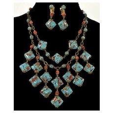 Vtg Murano Venetian Turquoise Aventurine Glass Swag Bead Necklace Earrings Set C. 1950