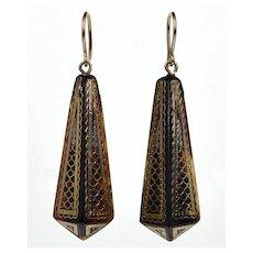 Exquisite Antique Victorian Gold Silver Pique Dangle Earrings C. 1860 002347