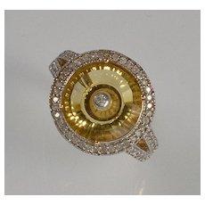 Glenn Lehrer 9K Gold Diamond Citrine RIng Size 7 1/4