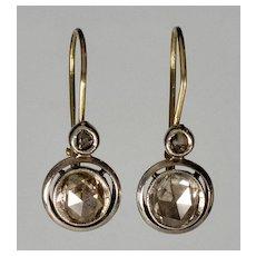 Antique Victorian 14K Gold 1 CTW Rose Cut Diamonds Earrings C. 1880