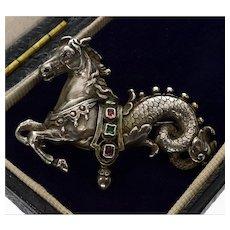 Victorian Austro-Hungarian Etruscan Hippocampus Sea-Horse Brooch Silver Ruby Emerald