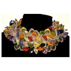 """Valentino """"V Night"""" Collection Lucite Hearts Collar Necklace"""
