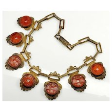 Antique Chinese Carved Carnelian Coin Filigree Silver Necklace C.1920 Signed