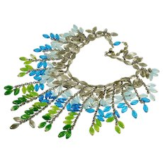 Vtg Millie Petronzio For Miriam Haskell Collar Necklace Gripoix Givre Glass Book Piece C.1980 Signed