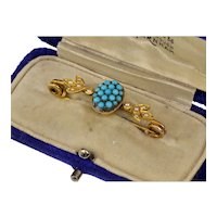 Antique Victorian 14K Gold Natural Turquoise Seed Pearl Brooch Pin In Original Box C. 1860