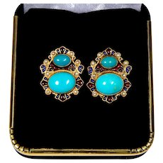 Natural Turquoise Earrings By Diego Percossi Papi, Enamel, Pearls