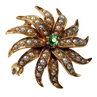Antique Victorian 14K Rose Gold Seed Pearls Sunburst Star Pendant Brooch