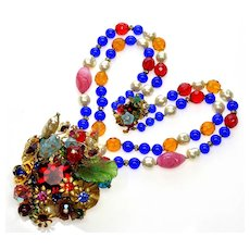 Exuberant Necklace By Anka. Venetian Glass, Poured Glass, Pearls, RS, Brass