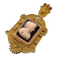 Antique Victorian 18K Gold Etruscan Revival Hardstone Cameo Locket Pendant C.1870