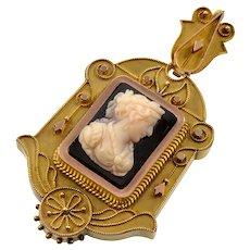 Antique Victorian 18K Gold Etruscan Revival Hardstone Cameo Locket Pendant C.1870