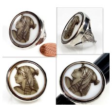 Antique French Art & Crafts Egyptian Revival Cleopatra Sepia Enamel Cameo Sterling Ring Size 7 C.1870