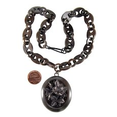 Antique Victorian Vulcanite Rose Locket Chain Necklace C.1860