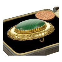 Victorian Etruscan Revival Russian Malachite Locket Pin Brooch C.1870