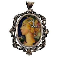 Antique Art Nouveau Hand Painted Lady's Portrait Cameo Carved 800 Silver Pendant Brooch C. 1900
