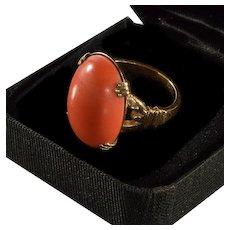 Antique Edwardian 10K Rose Gold Salmon Coral Ring Size 4 1/4 C.1900