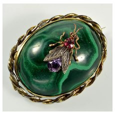 Antique Victorian Russian Malachite Fly Insect Bug Brass Brooch Pin C.1880