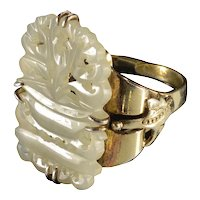 Art Deco Chinese Carved Hetian White Jade Silver Ring C.1920