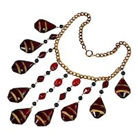Art Deco Czech Huge Ruby Glass Cascade Necklace C.1920