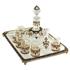 Antique Victorian Bohemian Garnet Crystal 9-piece Liqueur Set Decanter Shots Vase Tray C.1880