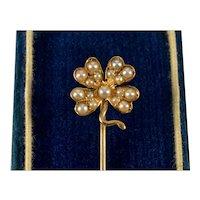 Antique Victorian 14K Rose Gold Pearl 4-leaf Shamrock Lucky Charm Stick Pin Stickpin C.1890
