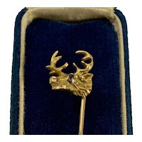 Antique Victorian 14K Deer Buck Elk Stag Head Stick Pin C.1890