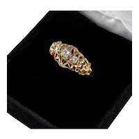 Antique Victorian French 18K Gold Ring Old Mine Cut Diamonds Eagle Hallmark C.1890